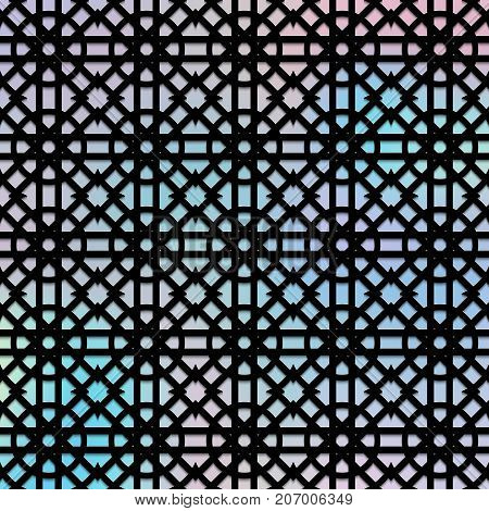 Holographic background with an openwork pattern for Christmas decoration