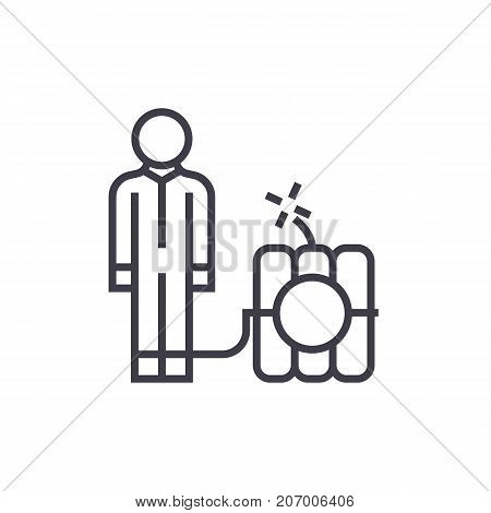 debt problems, man with dynamite bomb  vector line icon, sign, illustration on white background, editable strokes