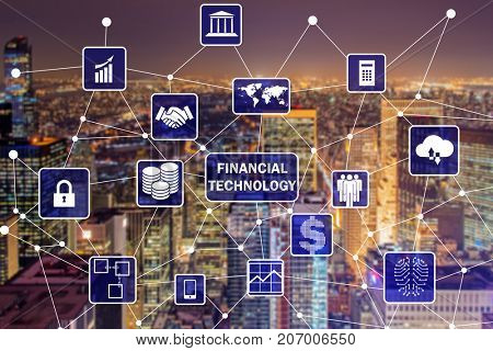 Smart city concept with fintech financial technology concept