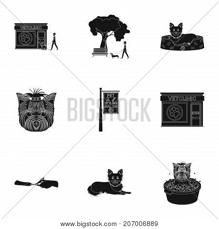 Walking with a dog, a vet clinic, a dog haircut, a puppy bathing, feeding a pet. Vet clinic and pet care set collection icons in black style vector symbol stock illustration .