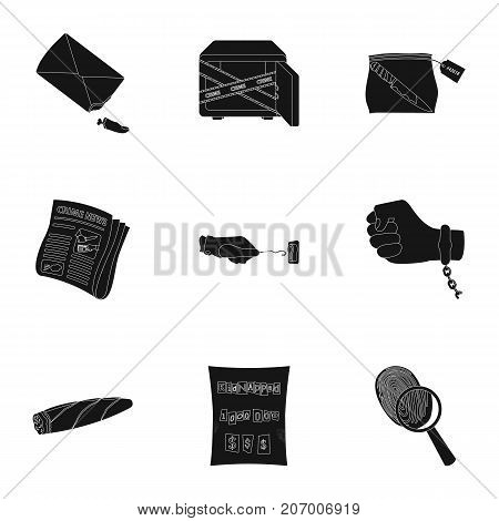 A detective, a pistol in a holster, a police badge, a magnifying glass and a fingerprint, criminal news and other attributes. Detective and crime set collection icons in black style vector symbol stock illustration .