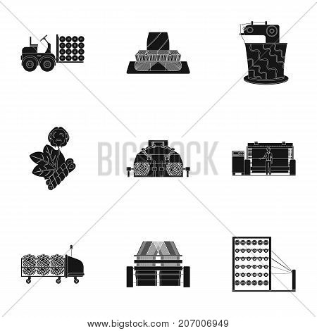 Textiles, industry, tissue, and other  icon in black style.Machinery, machine, hoist icons in set collection