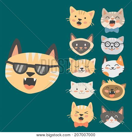 Cats heads vector illustration cute animal funny decorative characters color abstract feline domestic trendy pet drawn. Happy mammal fur adorable breed.