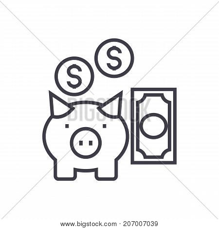 deposit insurance, pig with money vector line icon, sign, illustration on white background, editable strokes