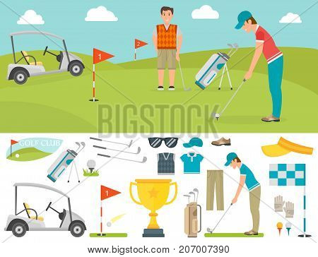 Vector set of stylized golf icons hobby play equipment. Collection cart player golf sport symbol flag hole game. Outdoors relaxation competition activity.