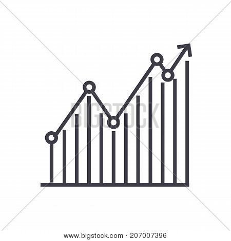 diagram, graph up vector line icon, sign, illustration on white background, editable strokes