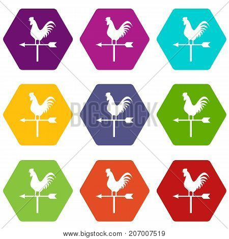 Weather vane with cock icon set many color hexahedron isolated on white vector illustration