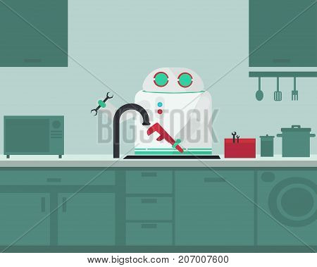 Domestic robot plumber fixing faucet in the kitchen. Personal robot assistance futuristic concept illustration vector.