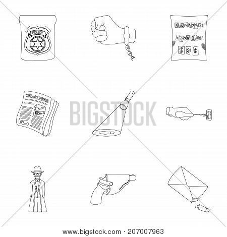 A detective, a pistol in a holster, a police badge, a magnifying glass and a fingerprint, criminal news and other attributes. Detective and crime set collection icons in outline style vector symbol stock illustration .