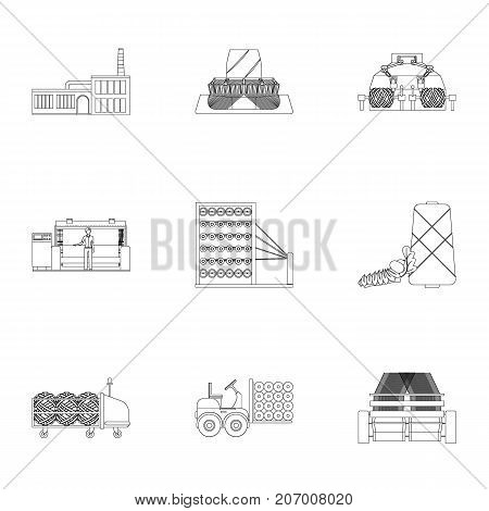 Textiles, industry, tissue, and other  icon in outline style.Machinery, machine, hoist icons in set collection