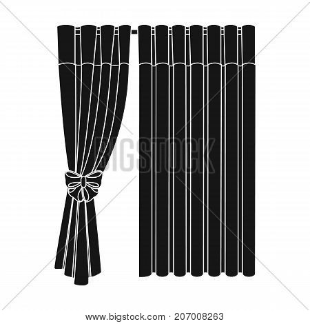 Curtains, single icon in black style.Curtains, vector symbol stock illustration .