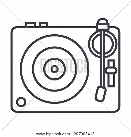 dj, vinyl, turntable vector line icon, sign, illustration on white background, editable strokes