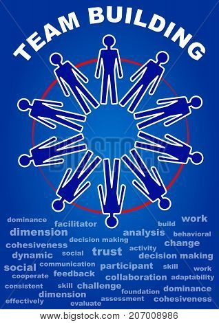 Team building presentation leaflet. Flyer with people in a circle, terms of team work. White line on dark blue background. Accompanying material for teaching, education, training. Vector EPS 10