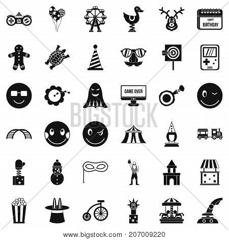 Entertainment icons set. Simple style of 36 entertainment vector icons for web isolated on white background