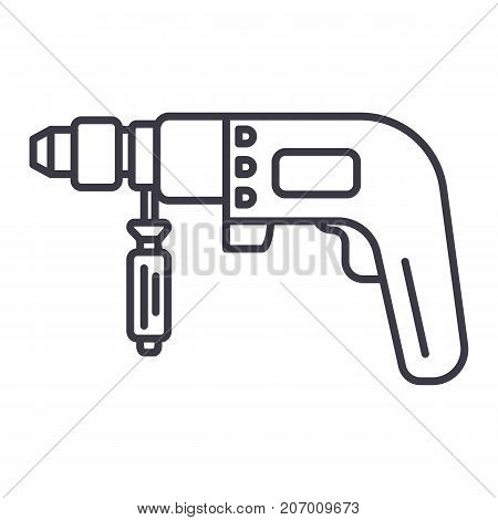 drilling machine illustration vector line icon, sign, illustration on white background, editable strokes