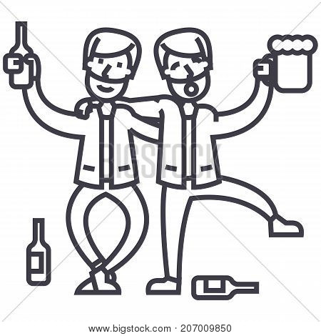 drunk people, drunk party, two men drinking vector line icon, sign, illustration on white background, editable strokes