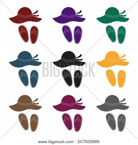 Beach hat with flip-flops icon in black design isolated on white background. Family holiday symbol stock vector illustration.