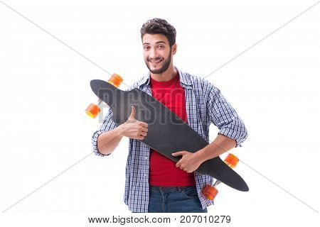 Young skateboarder with a longboard skateboard isolated on white