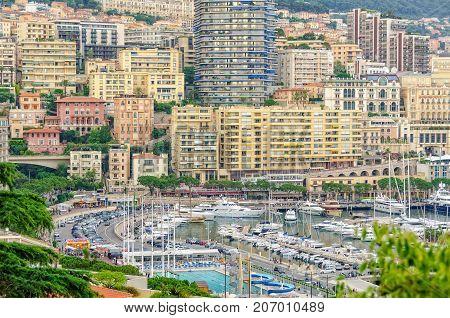 Port Hercule and Avenue d'Ostende photographed from Monaco-Ville - Monaco, 7 July 2013