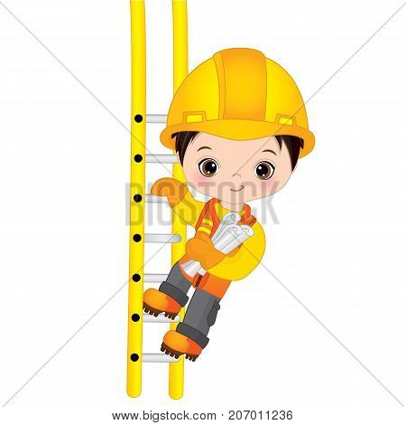 Vector cute little boy climbing up the ladder and holding drawings. Vector construction. Little builder vector illustration