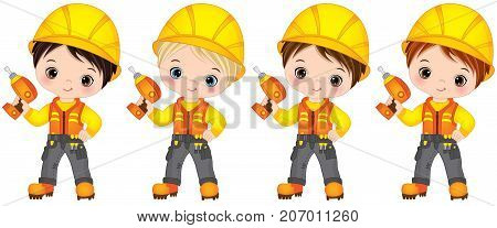 Vector cute little boys drilling. Vector little boys with various hair colors. Little builders vector illustration
