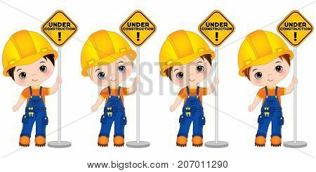 Vector cute little boys holding the sign - under construction. Vector little boys with various hair colors. Vector construction. Little builders vector illustration