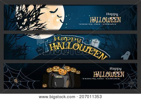 Vector set of Halloween bookmarks with silhouettes of trees full moon bats headstones grave crosses ghosts group of wizards magic cauldron spider net on the gradient dark blue background.