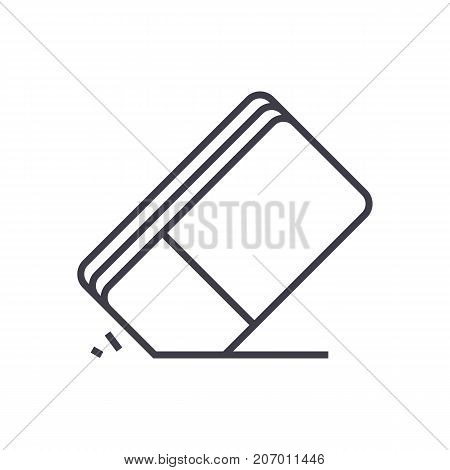 eraser vector line icon, sign, illustration on white background, editable strokes