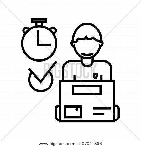 express delivery, courier service, order box vector line icon, sign, illustration on white background, editable strokes