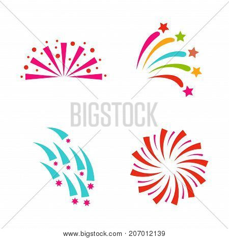 Firework vector icon isolated illustration celebration holiday event night new year fire festival explosion light festive party fun birthday bright. Pyrotechnics rocket explode collection.