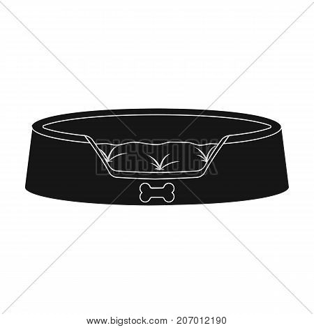 Lounger for a pet, a sleeping place. Care of a pet single icon in black style vector symbol stock illustration .