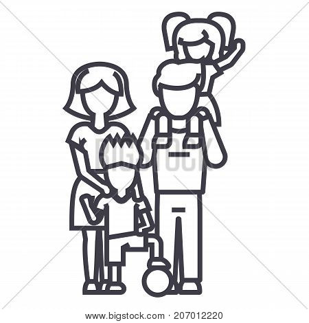 family, on father s shoulders, mother holding son, son with ball vector line icon, sign, illustration on white background, editable strokes