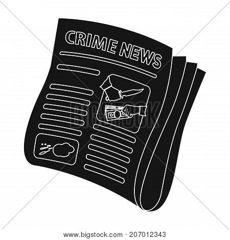 Newspaper crime news.Crime article in the press single icon in black style vector symbol stock illustration .