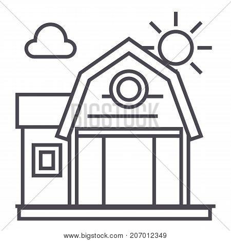 farm building vector line icon, sign, illustration on white background, editable strokes