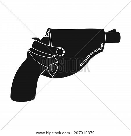 Pistol in the holster, firearms. Pistol detective single icon in black style vector symbol stock illustration .