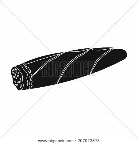 Cigar, twisted tobacco leaf. Smoldering cigar single icon in black style vector symbol stock illustration .