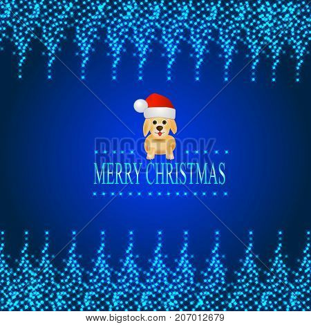 Blue background with a luminous frame of stars and dog in a Santa Claus hat. Illustration.