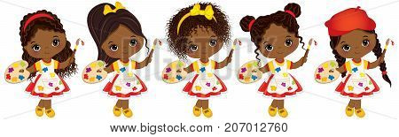 Vector cute little African American girls with various hairstyles. Vector little African American artists with palettes and paint brushes. Little artists vector illustration