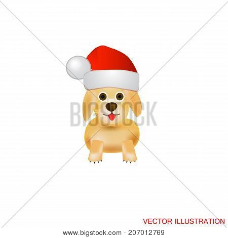 Illustration with dog. White background with nice dog. Funny cartoon characters dogs .Vector illustration.