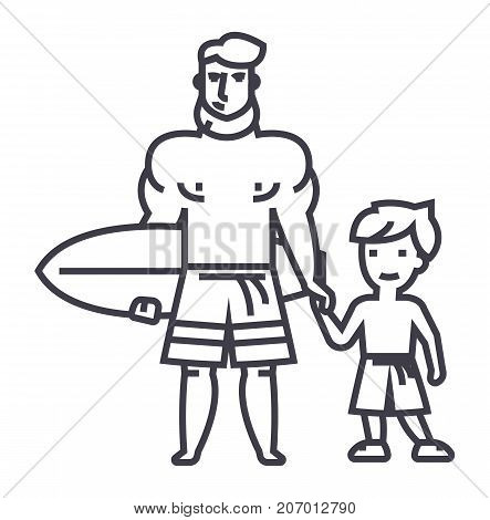 father with son on vacation with surfing board vector line icon, sign, illustration on white background, editable strokes
