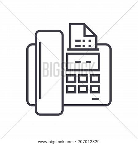 fax vector line icon, sign, illustration on white background, editable strokes
