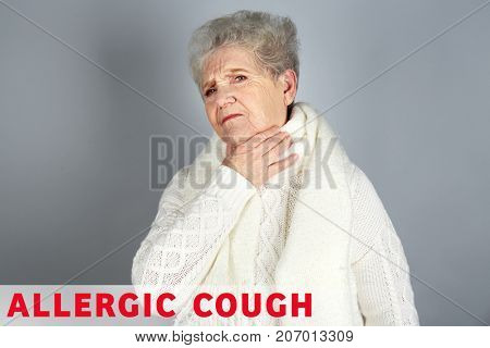 Senior woman and text ALLERGIC COUGH on grey background