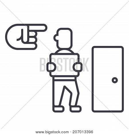fired, exit, dismissal vector line icon, sign, illustration on white background, editable strokes