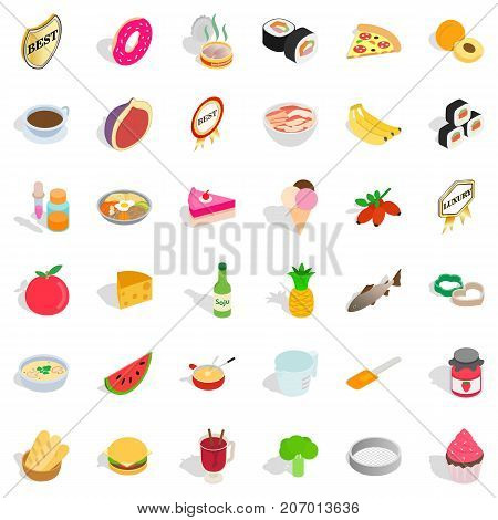 Kettle icons set. Isometric style of 36 kettle vector icons for web isolated on white background