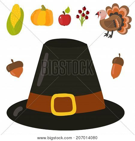 Happy thanksgiving day symbols design holiday objects fresh food harvest autumn season vector illustration. Traditional seasonal nature vegetable pumpkin food.