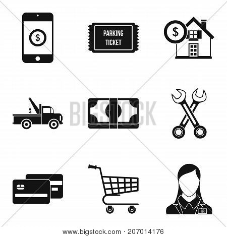 Penalty for parking icons set. Simple set of 9 penalty for parking vector icons for web isolated on white background