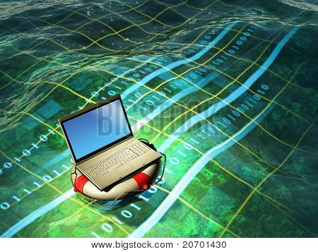 A modern laptop floating in a digital sea. Digital illustration