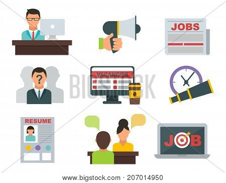 Vector job search icon set. Interview employee resources career strategy set.