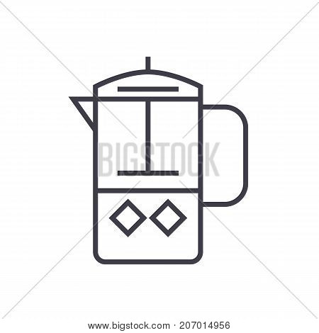 french press vector line icon, sign, illustration on white background, editable strokes