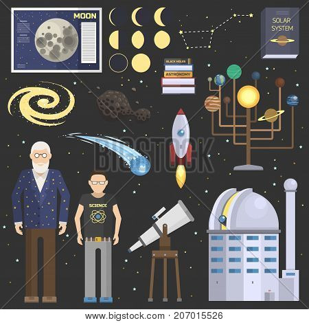 Astronomy icons solar system stickers set. Cute cartoon planets and sun system. Astronomy oldman and school boy symbolsstickers vector set.
